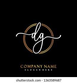 DG Initial Handwriting logo template vector