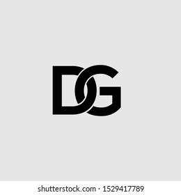 DG initials black letters logo icon vector