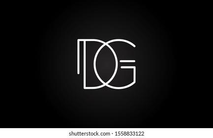 DG or JG initial based letter icon logo Unique modern creative elegant geometric fashion brands black and white color