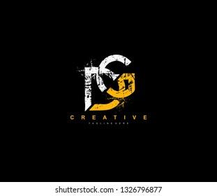 DG Letter Linked Brush Grunge Urban Type Style Logo