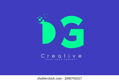 DG Letter Logo Design With Negative Space Concept in Blue and Green Colors Vector