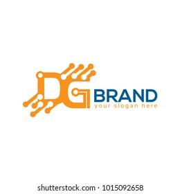DG logo with circuit. DG letter. Flat logo design