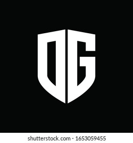 DG logo monogram with shield shape design template