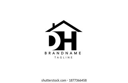 DH Alphabet initial Letter house Monogram Icon Logo Design vector illustration