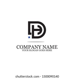 DH combination logo inspiration,DH initial logo template