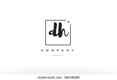 dh d h hand writing written black white alphabet company letter logo square background small lowercase design creative vector icon template