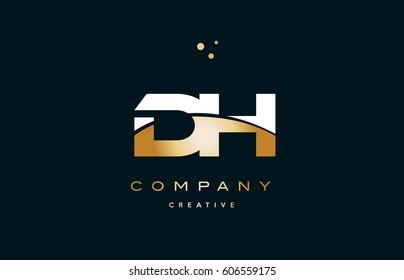 dh d h  white yellow gold golden metal metallic luxury alphabet company letter logo design vector icon template