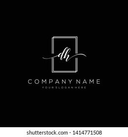DH handwriting initial logo template vector.