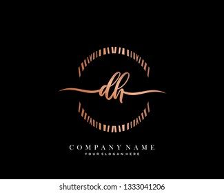 DH handwriting initial  logo vector