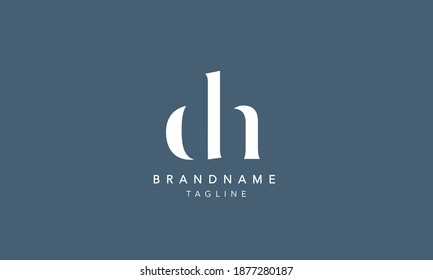 DH HD Lowercase Letter Initial Icon Logo Design Vector Illustration