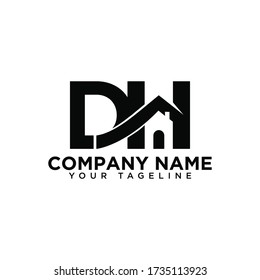 DH Home construction, real estate, building, property logo.DH logo DH letter logo Vector Template.Outstanding DH initial vector monogram letter logo