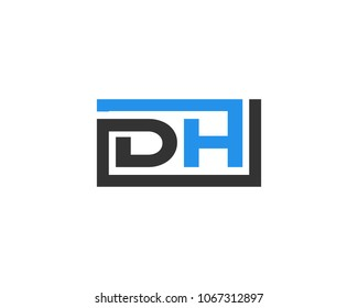 DH initial box letter logo template vector