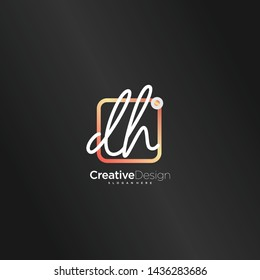 DH initial handwriting with color logo icon template vector.