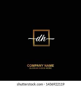 DH Initial handwriting logo template vector