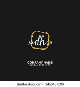 DH Initial handwriting logo vector