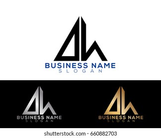 DH initial letters linked triangle shape logo