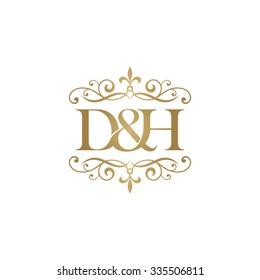 D&H Initial logo. Ornament ampersand monogram golden logo