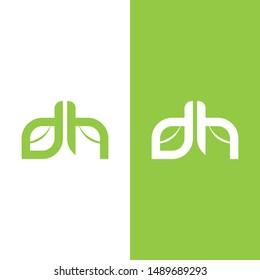 dh leaf logo icon design vector