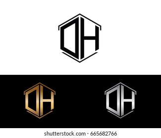 DH letters linked with hexagon shape logo