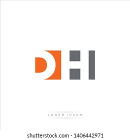 DH Logo Letter with Modern Negative space - Orange and Grey Color EPS 10