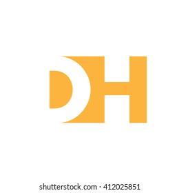 DH Logo. Vector Graphic Branding Letter Element. White Background