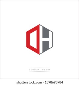 DH / OH Logo Initial Monogram Negative Space Design Template With Orange and Grey Color - Vector EPS 10