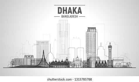 Dhaka Bangladesh line skyline with panorama in white background. Vector Illustration. Business travel and tourism concept with modern buildings. Image for banner or web site.