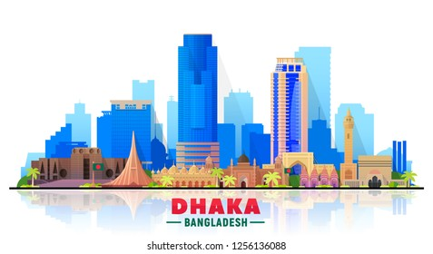 Dhaka Bangladesh skyline with panorama in white background. Vector Illustration. Business travel and tourism concept with modern buildings. Image for banner or web site.