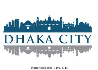 Dhaka Building Landmark Skyline vector, Logo Template