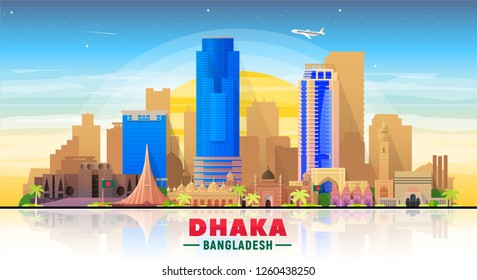 Dhaka city ( Bangladesh) skyline. Vector Illustration. Business travel and tourism concept with modern buildings. Image for banner or web site.