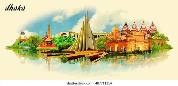 DHAKA city panoramic vector water color illustration