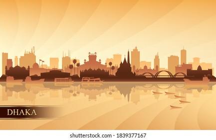 Dhaka city skyline silhouette background, vector illustration