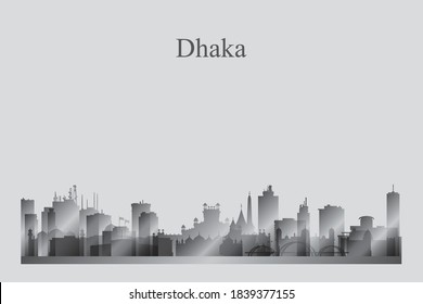 Dhaka city skyline silhouette in a grayscale vector illustration