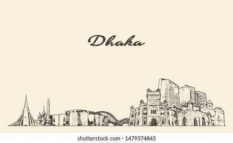 Dhaka skyline, Bangladesh, hand drawn vector illustration, sketch