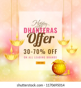 Dhanteras festival offer 30-70% discount with illustration of golden coin pot and hanging creative oil lamps on shiny abstract background.