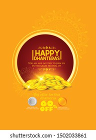 Dhanteras (happy Dhanteras)  festival card with Gold coin in pot golden patterned and red color Background.