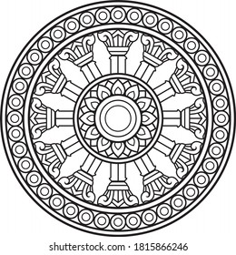 Dharma wheel in Buddhism religion concept. another name is Dhamma Chak or Wheel of Dharma This picture is used as a symbol of the Thai Sangha. Unique in that it has 12 inner grips or bars.