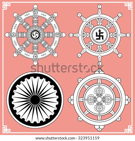 Dharma Wheel Dharmachakra Icons Wheel Dharma Stock Vector Royalty