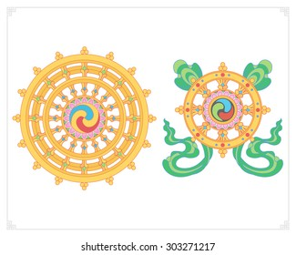 Dharma Wheel, Dharmachakra Icons. Wheel of Dharma in flat design. Buddhism symbols. Symbol of Buddha's teachings on the path to enlightenment, liberation from the karmic rebirth in samsara.
