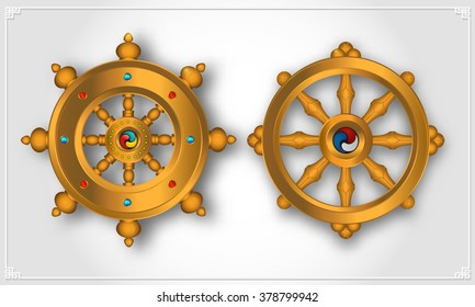 Dharma Wheel, Dharmachakra Icons. Wheel of Dharma in realistic design. Buddhism symbols. Symbol of Buddha's teachings on the path to enlightenment, liberation from the karmic rebirth in samsara.