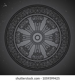 Dharma Wheel, Dharmachakra. Symbol of Buddha's teachings on the path to enlightenment, liberation from the karmic rebirth in samsara. Starry night sky textured background. EPS10 vector