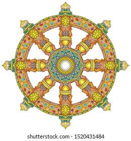 Dharma Wheel or dharmachakra, theach and walk to the path of Nirvana