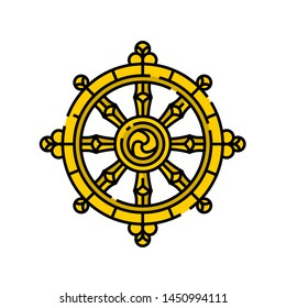 Dharma Wheel symbol. Gold Buddhism religion sign. Dharmachakra line icon. Vector illustration.