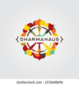 Dharma wheel vector logo. Dharma wheel icon. Dharma wheel emblem. Budist retail store logo.