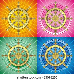 Dharmacakra - dharma wheel, main buddhist symbol. Set of vector editable illustration on abstract oriental background