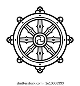 Dharmachakra (Dharma Wheel) symbol in Buddhism. Black and white line icon, tattoo design. Isolated vector clip art illustration.