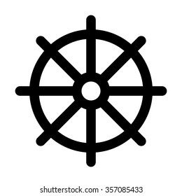 Dharmachakra / Wheel of Dharma - a symbol of Buddhism and Hinduism flat vector icon for apps and websites