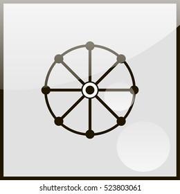 Dharmachakra / Wheel of Dharma - a symbol of Buddhism and Hinduism flat icon.