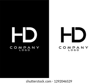 dh/hd modern logo design with white and black color that can be used for business company.