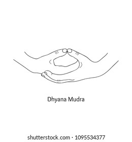 Dhyana Mudra / Gesture of Meditation. Vector.